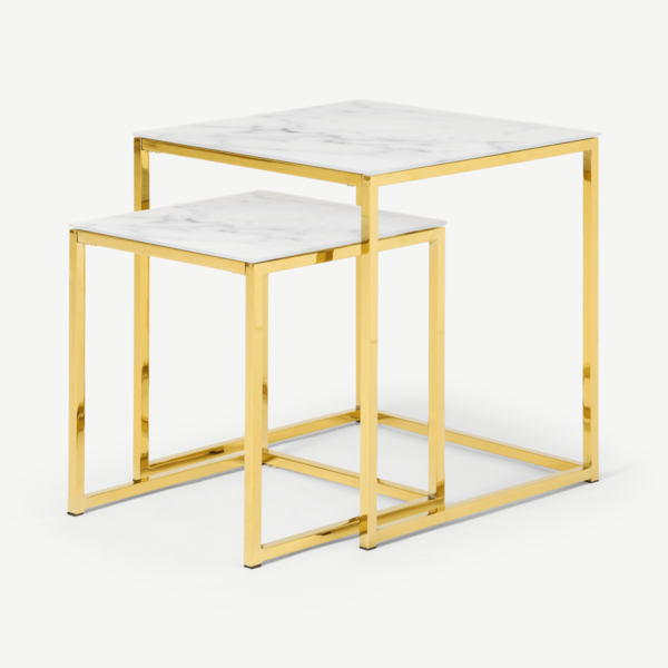 Alisma Nesting Tables, Marble Effect Glass & Brass