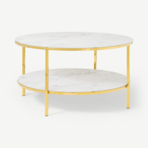 Alisma Round Two-Layer Coffee Table, Marble Effect Glass & Brass