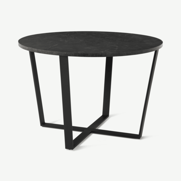 Amble 4 Seat Round Dining Table, Black Marble Effect & Black