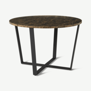Amble 4 Seat Round Dining Table, Brown Marble Effect & Black