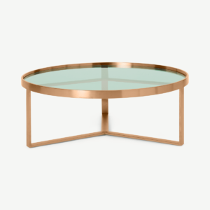 Aula Coffee Table, Brushed Copper & Green Glass