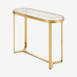 Aula Console Table, Brushed Brass and Glass