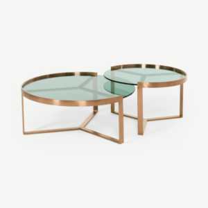Aula Nesting Coffee Table, Brushed Copper and Green Glass