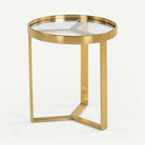 Aula Side Table, Brushed Brass & Glass