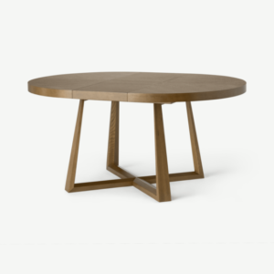 Belgrave 4- 6 Seat Round Extending Dining Table, Dark Stained Oak