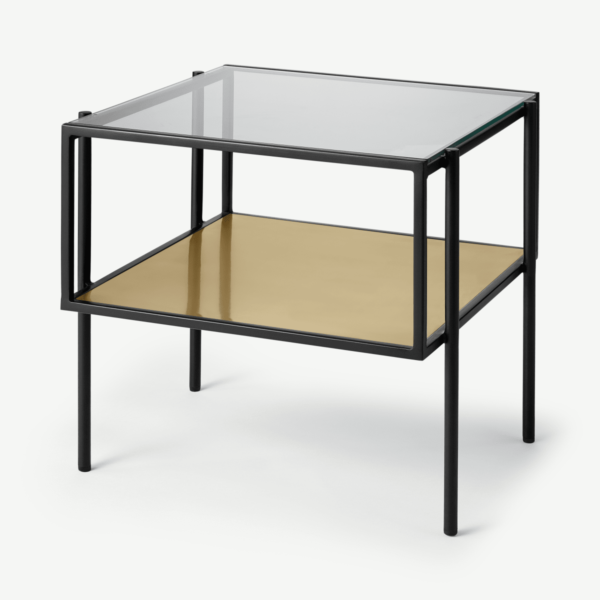 Cheney Side Table, Glass & Brass