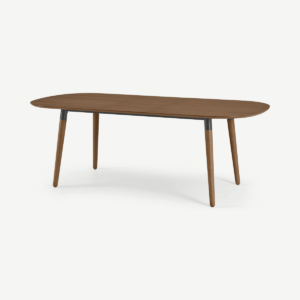 Edelweiss 6-8 Seat Oval Extending Dining Table, Walnut and Black