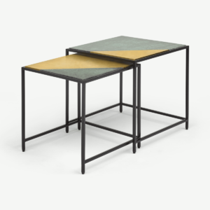 Elnaz Set of 2 Nesting Side Tables, Brass and Green Marble
