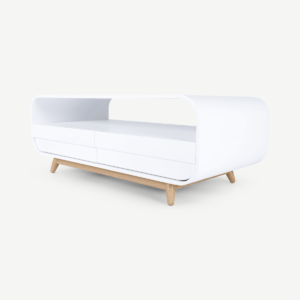 Esme Coffee Table With Two Drawers, White and Ash