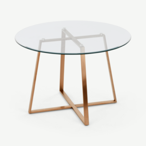 Haku 4 Seat Round Large Dining Table, Copper and Glass