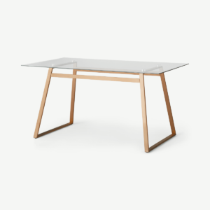 Haku 6 Seat Dining Table, Copper and Glass