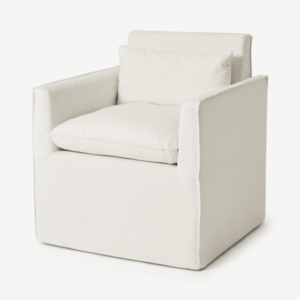 Kasiani Carver Dining Chair, Off-White Cotton & Linen Mix