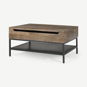 Lomond Lift Top Coffee Table with Storage, Mango Wood and Black