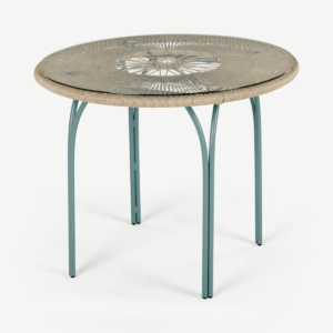 Lyra Garden 4 seater Round Dining Table, Grey and Blue