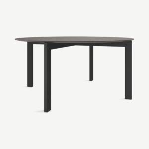 Niven 8 Seat Round Dining Table, Concrete & Black