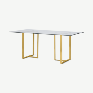 Saffie 6 Seat Dining Table, Brass & Glass