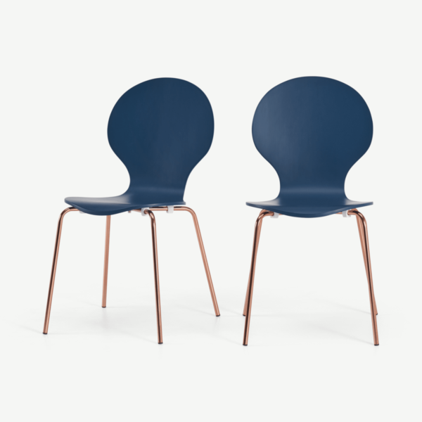 Set of 2 Kitsch Dining Chairs, Blue and Copper