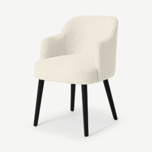 Swinton Carver Dining Chair, Faux Sheepskin with Black Legs
