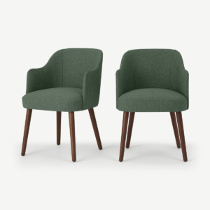 Swinton Set of 2 Carver Dining Chairs, Darby Green & Walnut stain