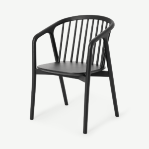 Tacoma Carver Dining Chair, Charcoal Black