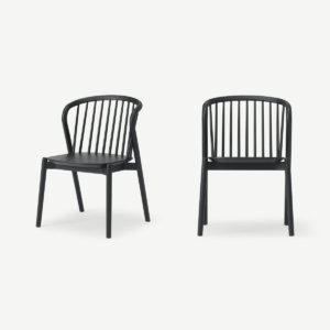Tacoma Set of 2 Dining Chairs, Charcoal Black