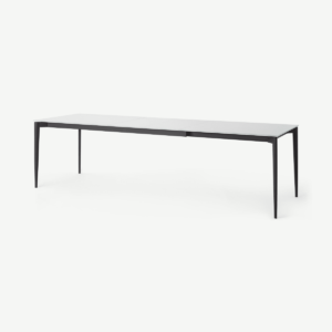 Tandil 8-12 Seat Extending Dining Table, White Glass